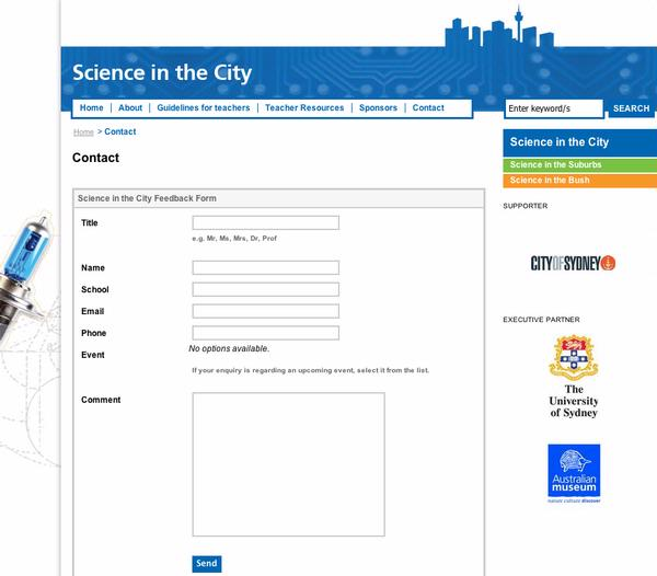 Science in the City - Contact Form