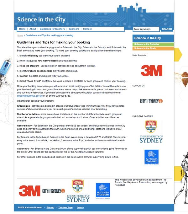 Science in the City Guidelines