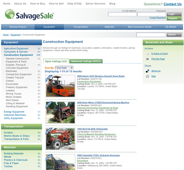 SalvageSale - Construction Equipment