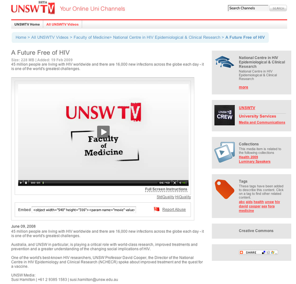 UNSW TV - Medicine Video Page