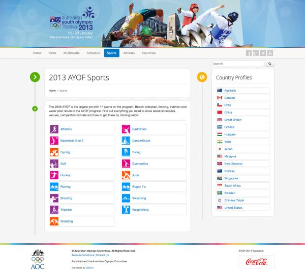 Australian Youth Olympic Games - Sports