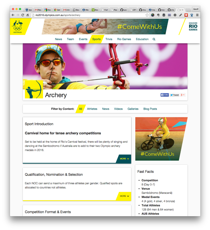rio: sports profile page
