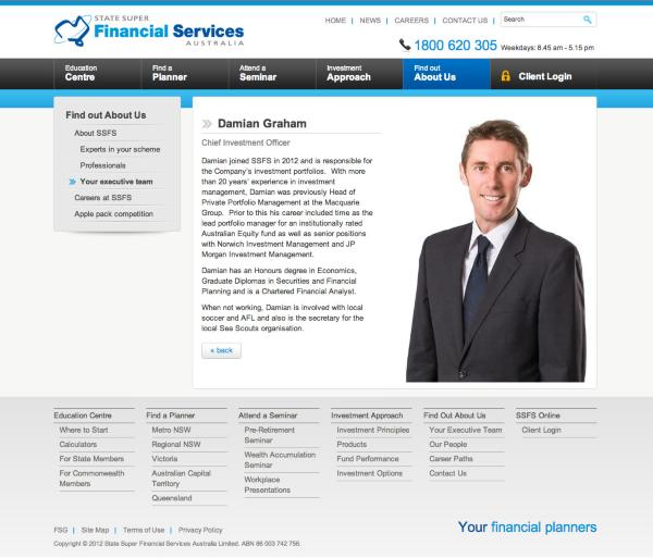 State Super Financial Services - Executive Biography