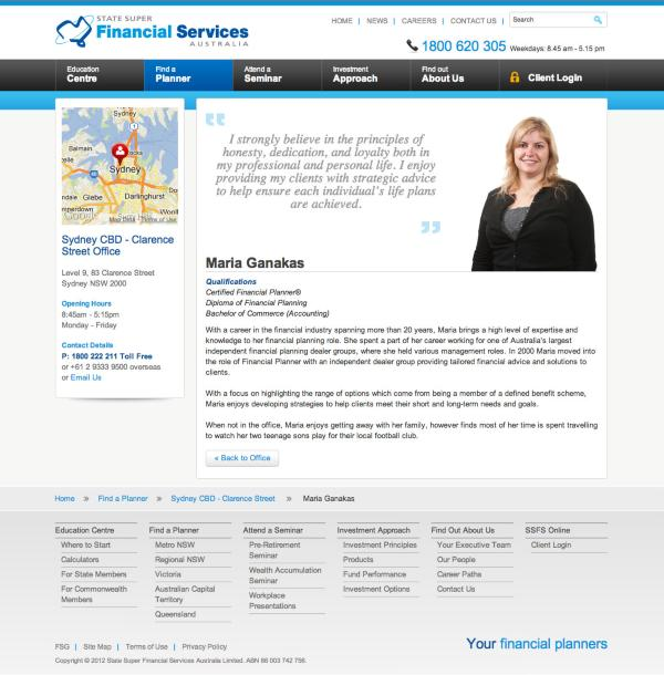 State Super Financial Services - Planner Biography